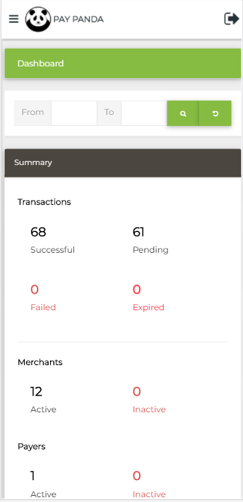 Illustration of Paypanda Dashboard in Mobile View
